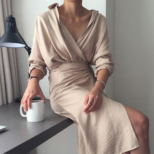 Sexy V Collar Pure Color Package Hip Work Dress - lolabuy