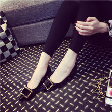 Elegant Metal Square Buckle Rivet Flat Shoes - lolabuy