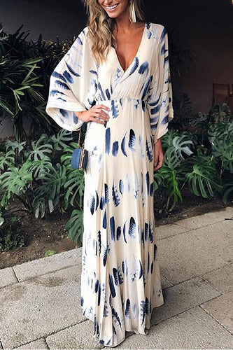 Sexy Floral Print Long Sleeves Vacation Maxi Dress - lolabuy