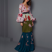 Sexy Deep V Collar Floral Printed Split Joint Maxi Dress - lolabuy
