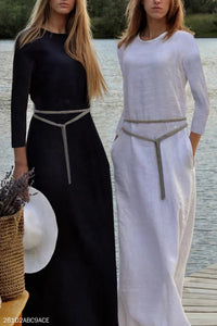 Elegant Vacation Casual Slim Plain Long Sleeve Maxi Dress - lolabuy
