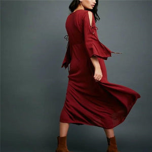 Elegant Stylish Slim Solid Color Long Sleeve Maxi Dress - lolabuy