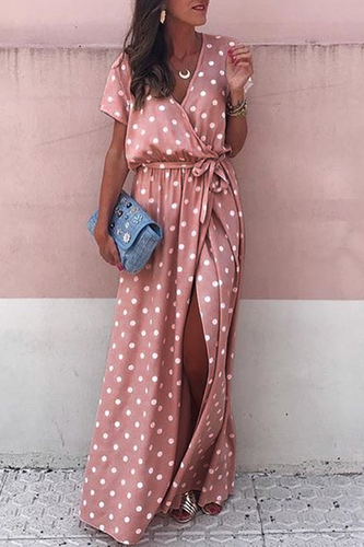 Sexy Pink Wave Point Maxi Dress - lolabuy