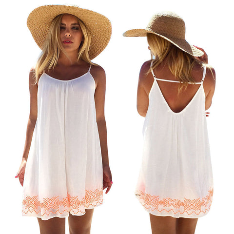 Women Dress White Harness dress Backless Short Summer BOHO Evening Party Beach Mini Dress Sundress