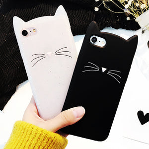 Samsung Galaxy S6 S6 Edge S7 Edge S8 S8Plus Case Cute Cat whiskers and ears Soft Silicon Phone Cases