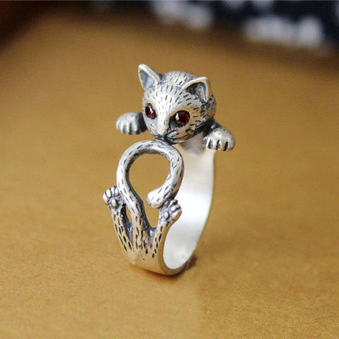 Summer Style Hippie Vintage Kitty Ring  Chic Knuckle Cat Rings For Women Fine Jewelry