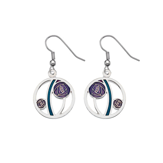 Earrings - Mackintosh Purple Rose Cut Out Earrings