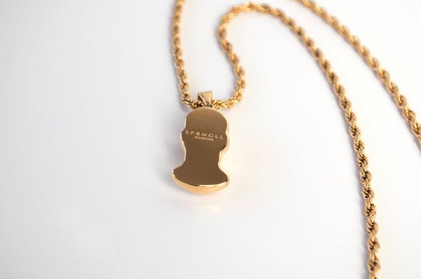 Gold Balaclava Pendant Chain back view with SPRNGLL engraved