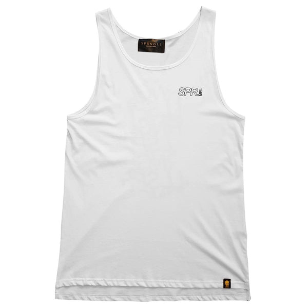 White singlet front with small SPR mel logo on front left