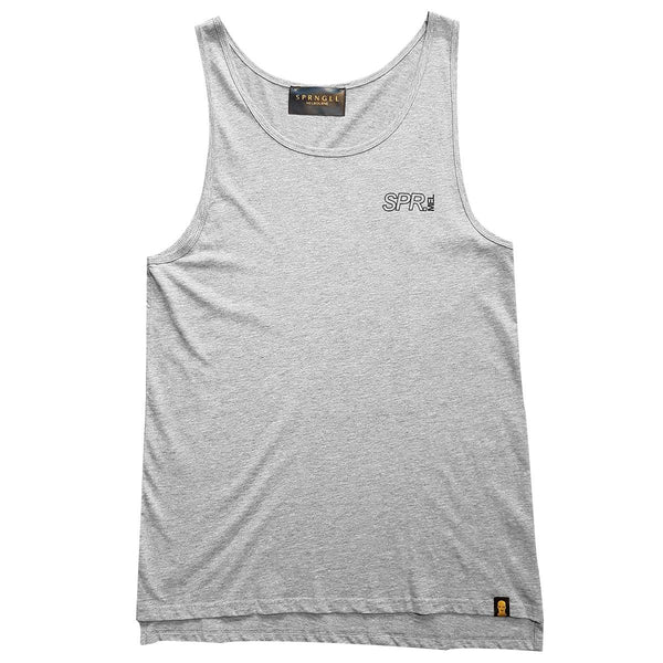 Grey singlet front with small SPR mel logo on front left