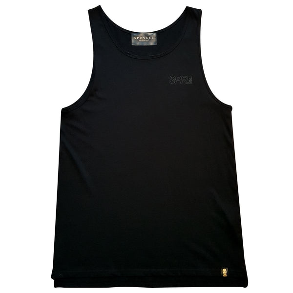 Black singlet front with small SPR mel logo on front left