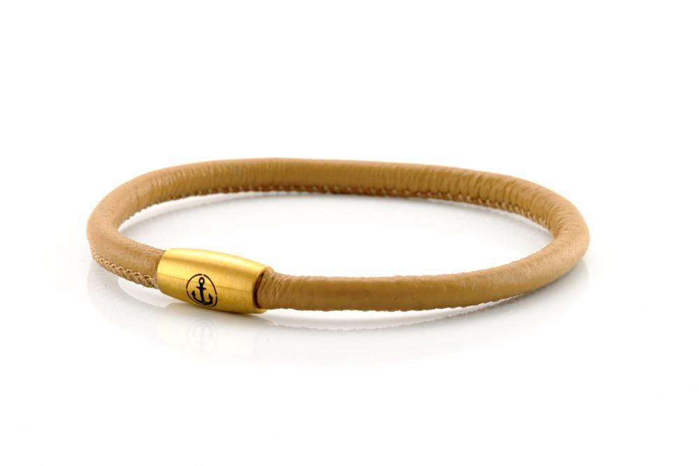 neptn women bracelet JUNO Anchor Gold Single 4 cappuccino nappa leather