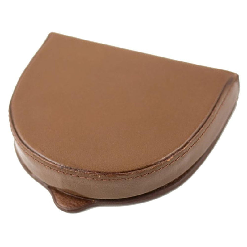 Genuine Leather Coin Tray Wallet - Brown