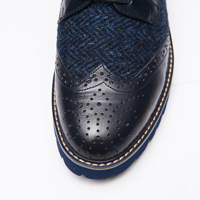 Ladies Harris Tweed Brogues by Snow Paw - Navy