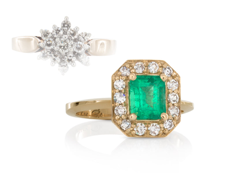 Pamela Lauz Jewellery - Emerald and Diamonds Halo Ring