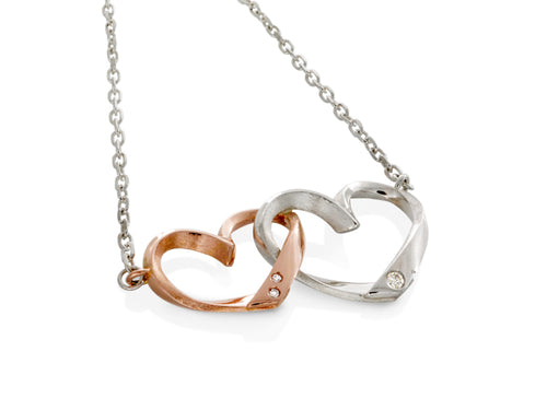 Pamela Lauz Jewellery - Hearts Duo Silver and Gold Pendant