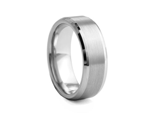 Pamela Lauz Jewellery - Brushed Tungsten Band with Bevelled Edges
