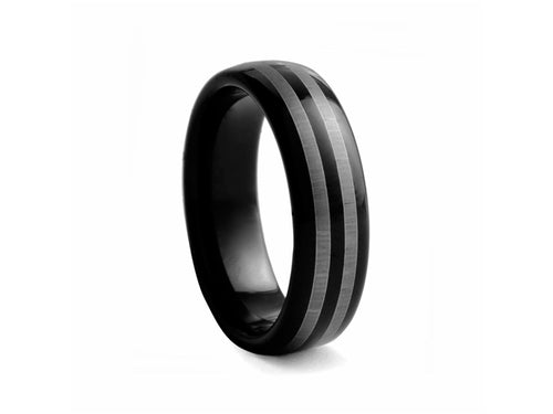Pamela Lauz Jewellery - Black-plated Striped Tungsten Band
