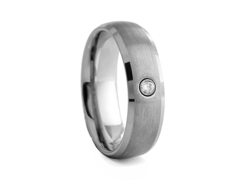 Pamela Lauz Jewellery - Brushed-finished Tungsten Band with Cubic Zirconia