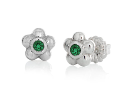 Pamela Lauz Jewellery - Blossom Emerald Silver Earrings