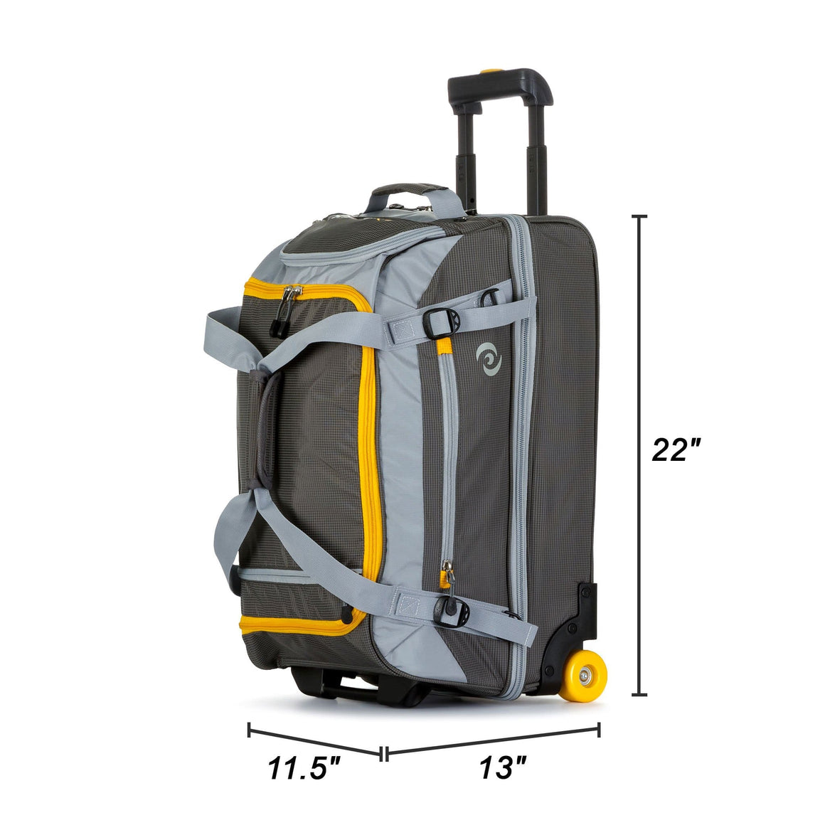 "Front of Rolling Travel Duffel Bag - 22"" with Durable Wheels and Extendable Trolley"
