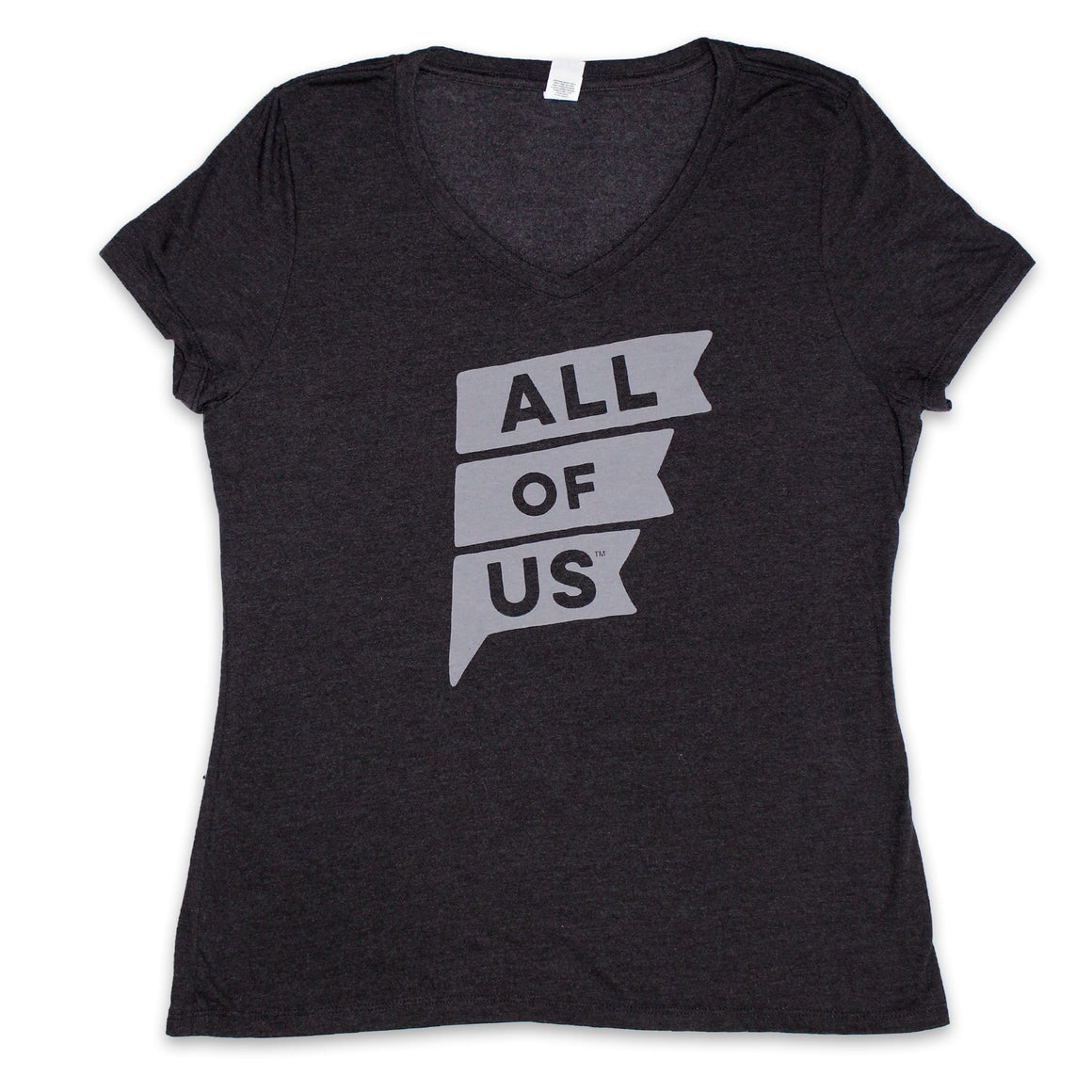 Women's Classic Black Frost V-Neck Tee with All of Us Flag in Tonal Grey