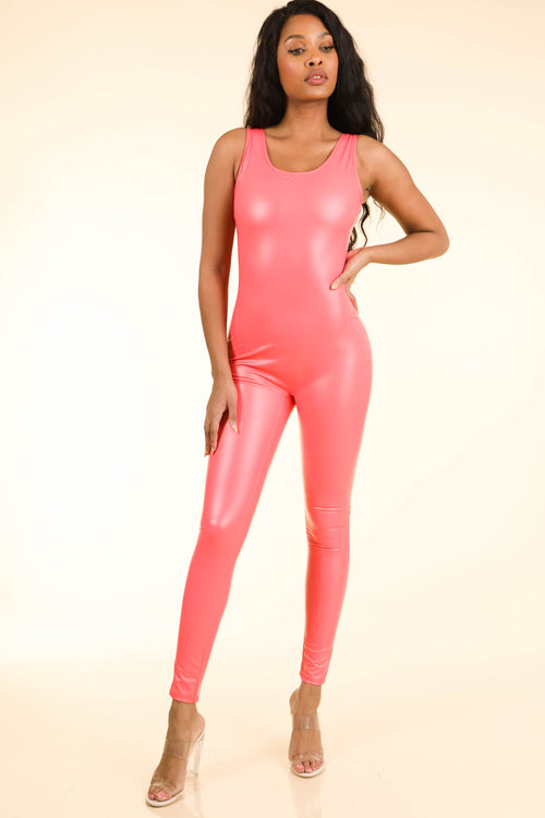 Popular Satin Coral Catsuit