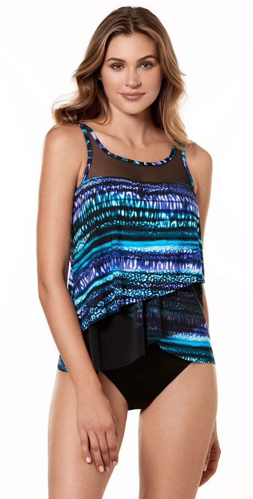Miraclesuit Cat Bayou Mirage Tankini Top 6518841-MULT front view of tankini with black bottom