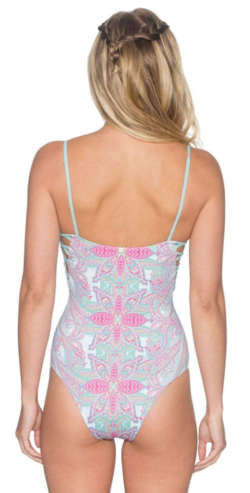 B. Swim Lani One Piece in Island Blossom White Back View