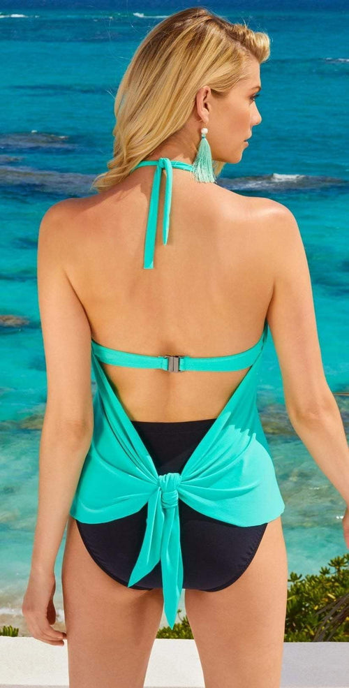 Magicsuit Gigi Tankini Top in Pool Blue Back View