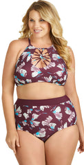 Raisins Curve Island High Waist Bottom in Maroon Y840954