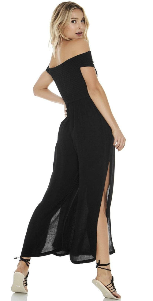 L Space Sao Paulo Romper in Black SAPJU18-BLK back view on model