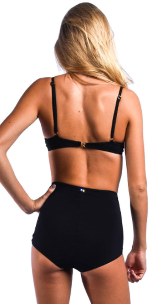 Sauvage Pin-Up Retro Glam Underwire Push Up Top 4811BLK back view