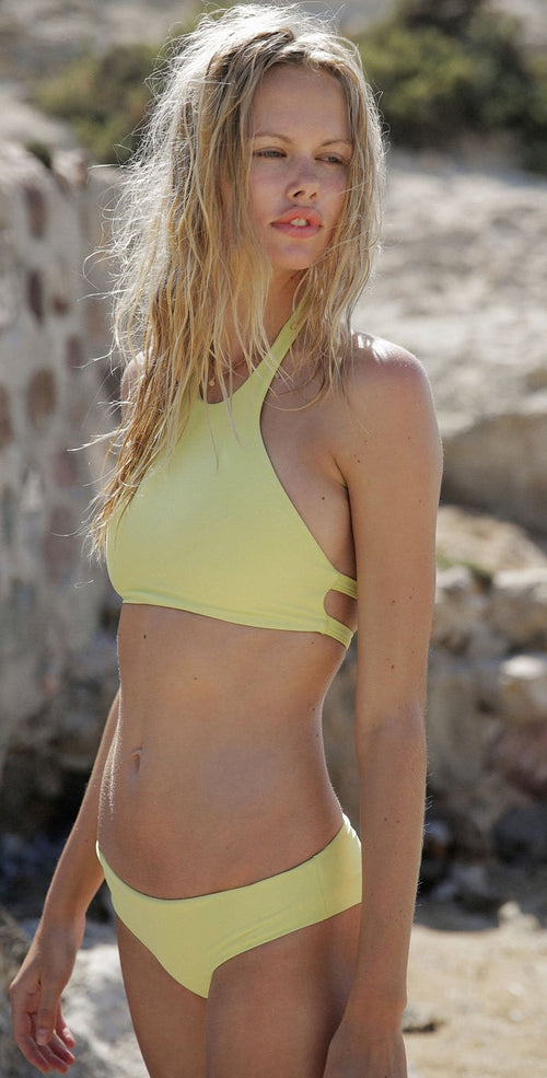 Tori Praver Sabina High Neck Top In Limoncello
