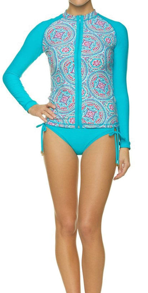 Helen Jon Mandalay Marimar Tab Side Hipster Bottoms HJ10-0304PKS front view with  surf shirt