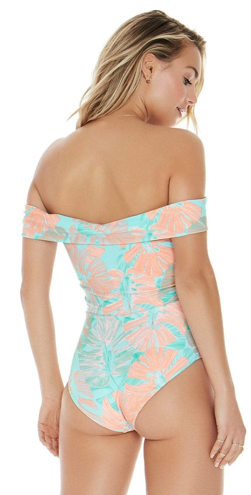 L Space Anja One Piece swimsuit In Bungalow Palm MTAJMC18-BGP back studio
