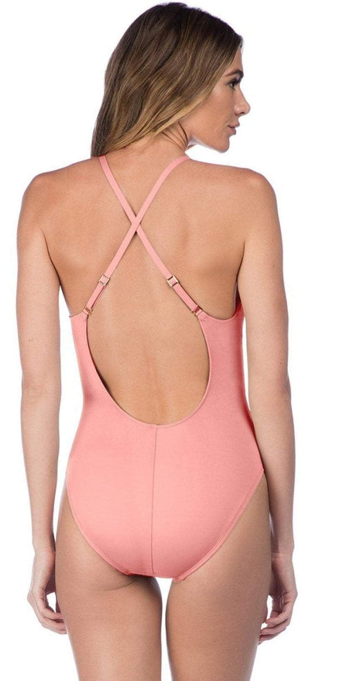 La Blanca Island Goddess Plunge One-Piece Swimsuit in Light Coral LB7AA15-LCR back studio model