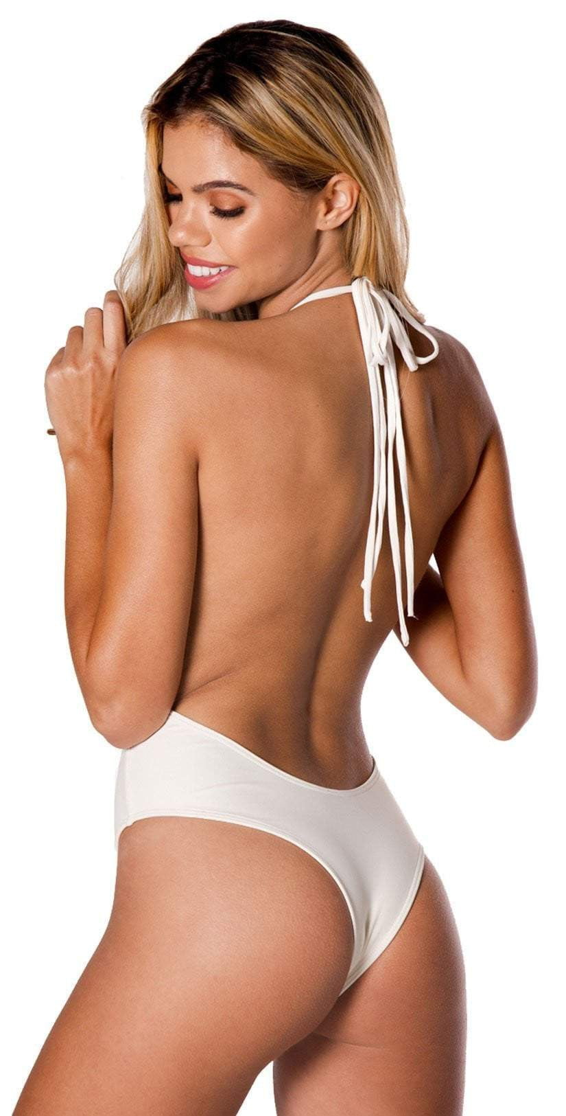 Montce Palmilla Blanco Backless One Piece  back studio