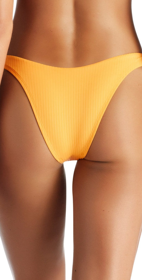 Vitamin A Sunflower EcoRib California High Leg Bikini Bottom 812B SRB bottom only of ribbed yellow bottom