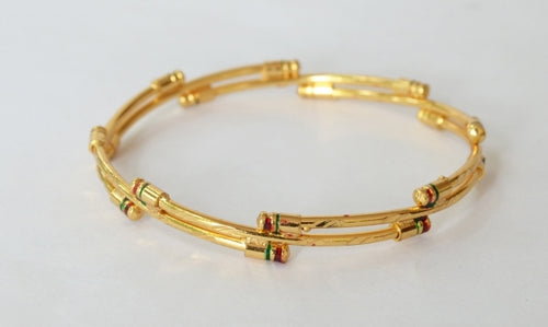 Gold plated simple enamel bangle - Bangle by Shrayathi