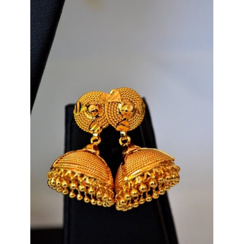 Gold Plated Jhumka Earring - earrings by Shrayathi