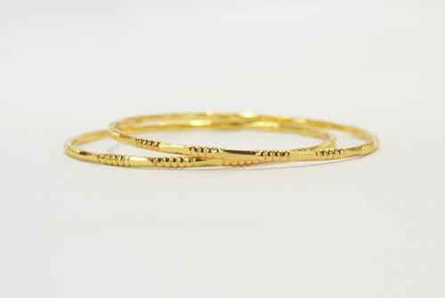 Gold plated set of simple bangle - Bangle by Shrayathi
