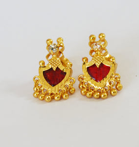 Small Maroon Palakka Stud Earring - earrings by Shrayathi