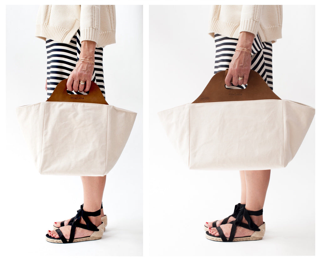 Market and Picnic Tote, White with leather handle, spill proof lining and cutting board