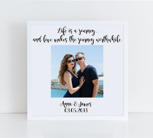 Wedding Photo Frame, Life is a journey.. and love makes the journey worthwhile, Wedding Gift, Memory Box Frame, Personalised Wedding Gift, Anniversary Gift, Memory Frame, Wedding Keepsake, Mr And Mrs Frame, Valentines Gift