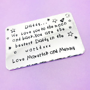 Daddy Love You To The Moon And Back Personalised wallet insert