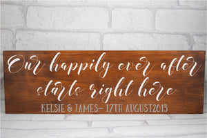 Our Happily Ever After Personalised Wooden Sign