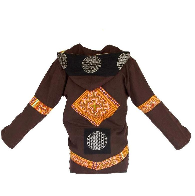 Flower HmongTribe - Flower of Life Jacket in Brown-The High Thai-The High Thai-Yoga Pants-Harem Pants-Hippie Clothing-San Diego