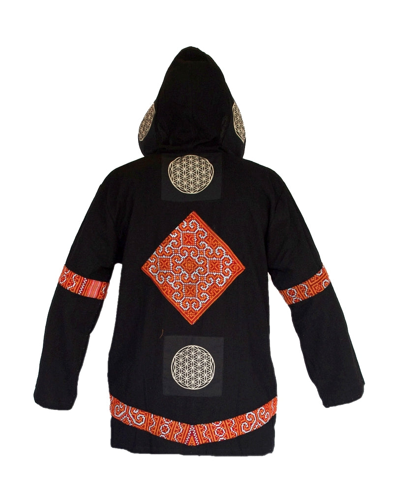 "Flower of Life Jacket in Black ""Black Hmong Tribe""-The High Thai-The High Thai-Yoga Pants-Harem Pants-Hippie Clothing-San Diego"
