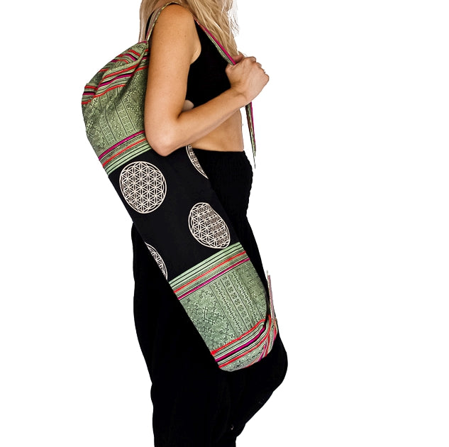 Yoga Mat Bag in Tribal Light Green Flower of Life Design-The High Thai-The High Thai-Yoga Pants-Harem Pants-Hippie Clothing-San Diego
